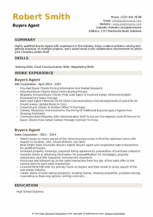 Buyers Agent Resume example