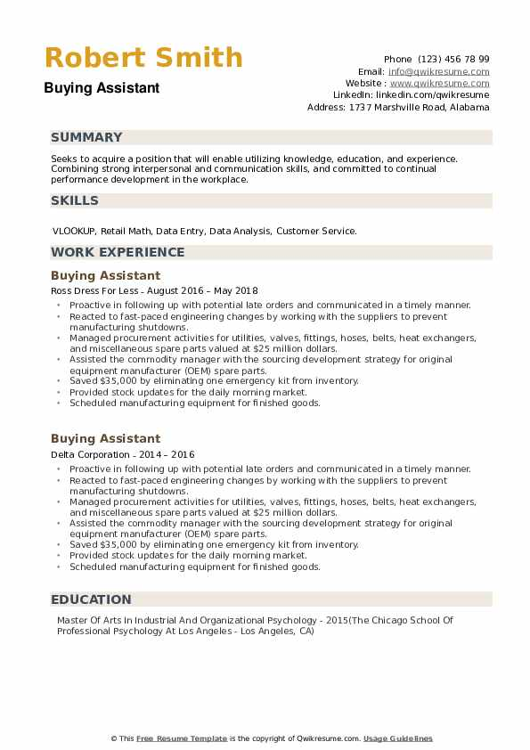 Buying Assistant Resume example