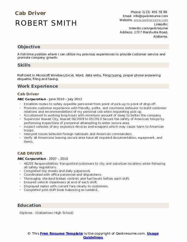 Cab Driver Resume Model
