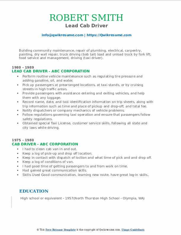 Lead Cab Driver Resume Model