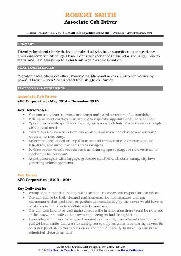 Associate Cab Driver Resume Model