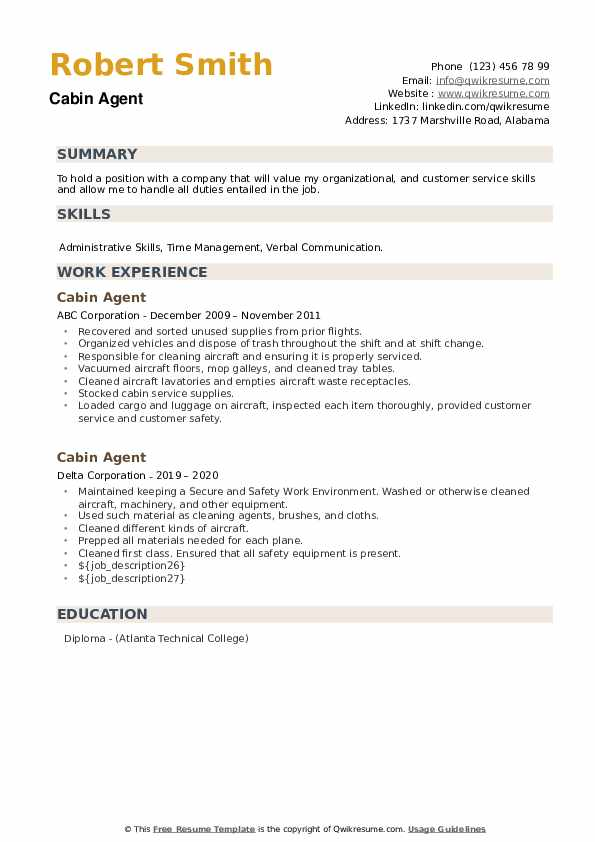 Cabin Agent Resume example