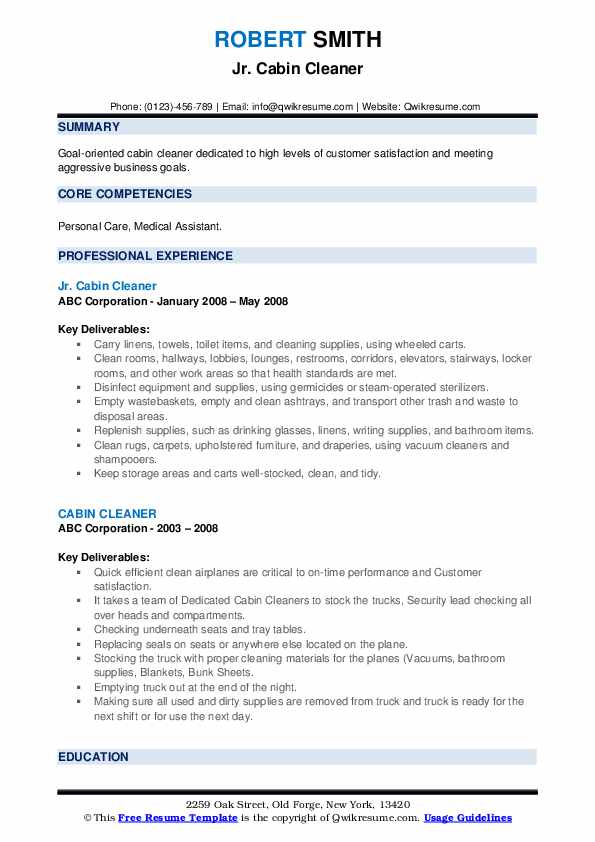 Jr. Cabin Cleaner Resume Example