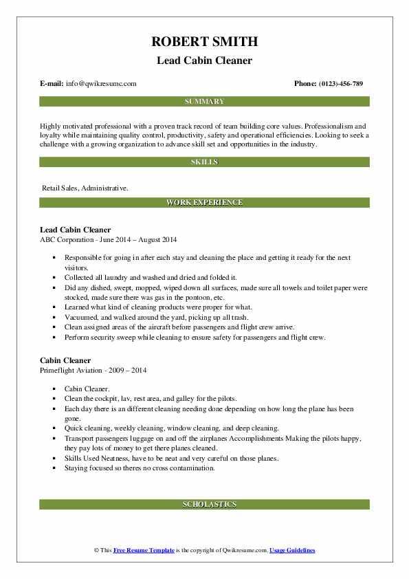 Lead Cabin Cleaner Resume Template