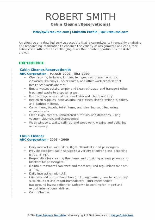 Cabin Cleaner/Reservationist Resume Format