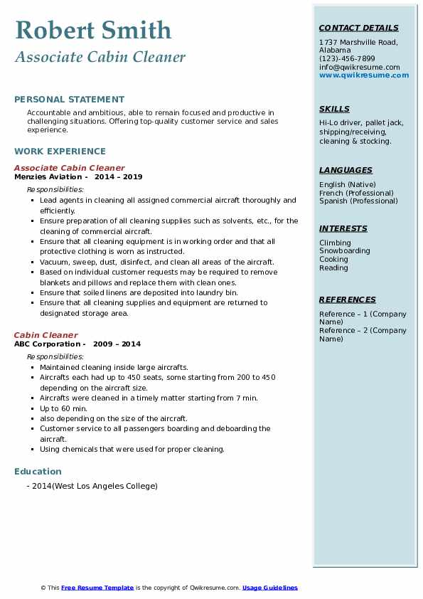 Associate Cabin Cleaner Resume Template