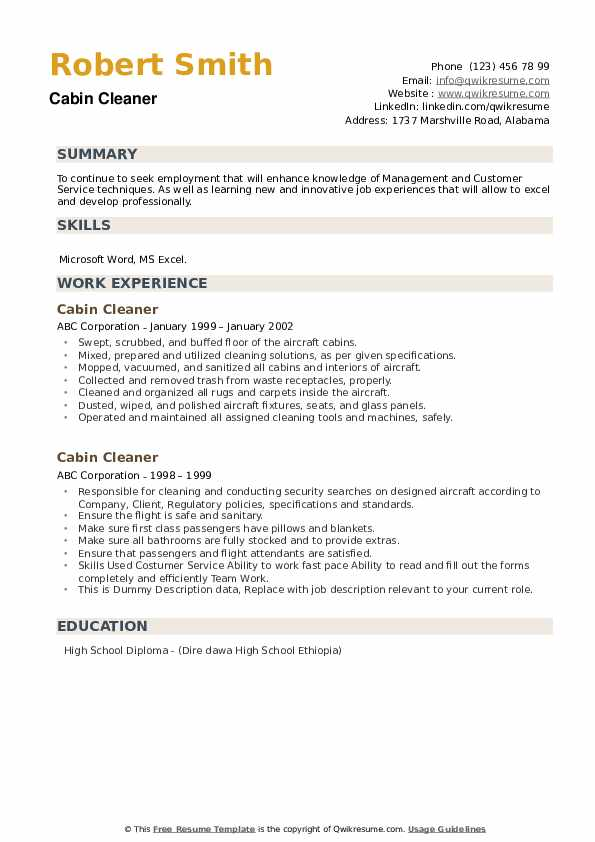 Cabin Cleaner Resume example