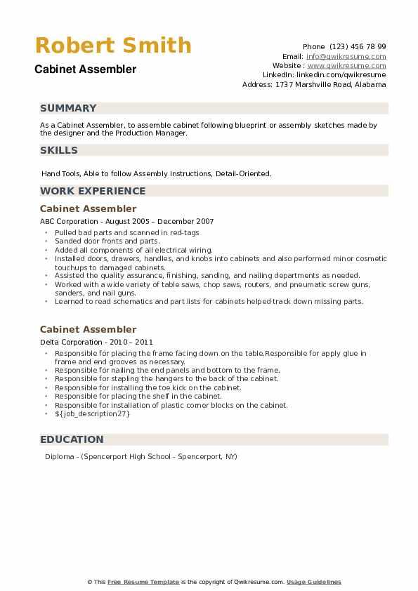 Cabinet Assembler Resume example