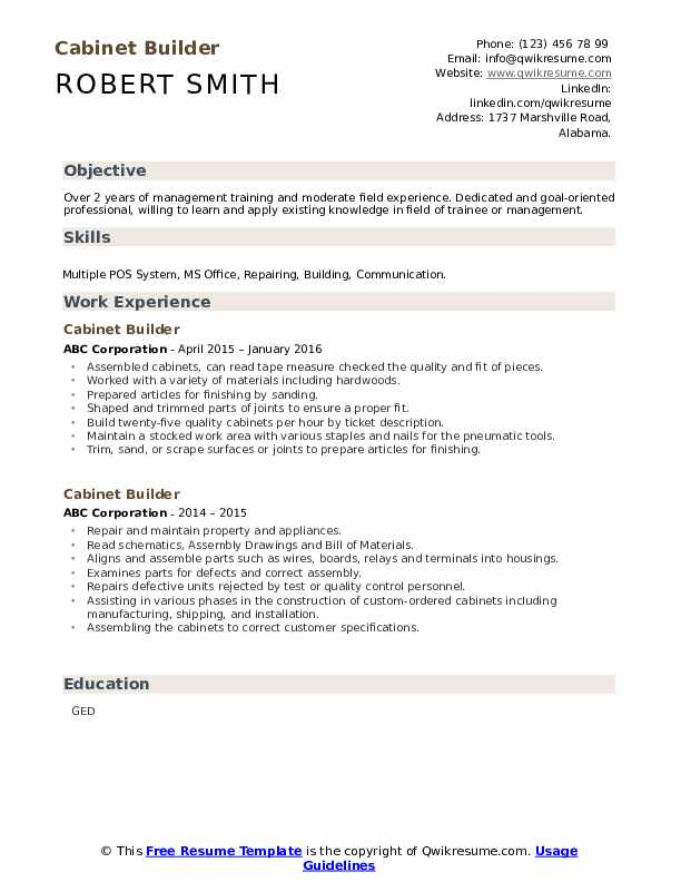 Cabinet Builder Resume example