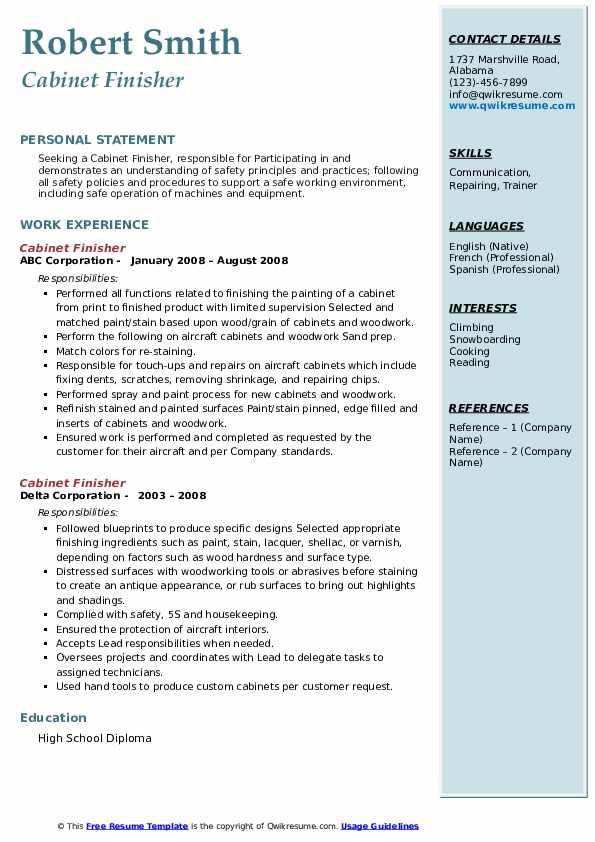 cabinet finisher resume samples  qwikresume