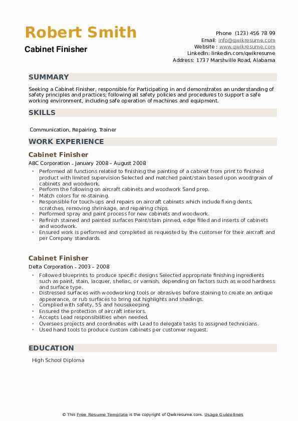 Cabinet Finisher Resume example