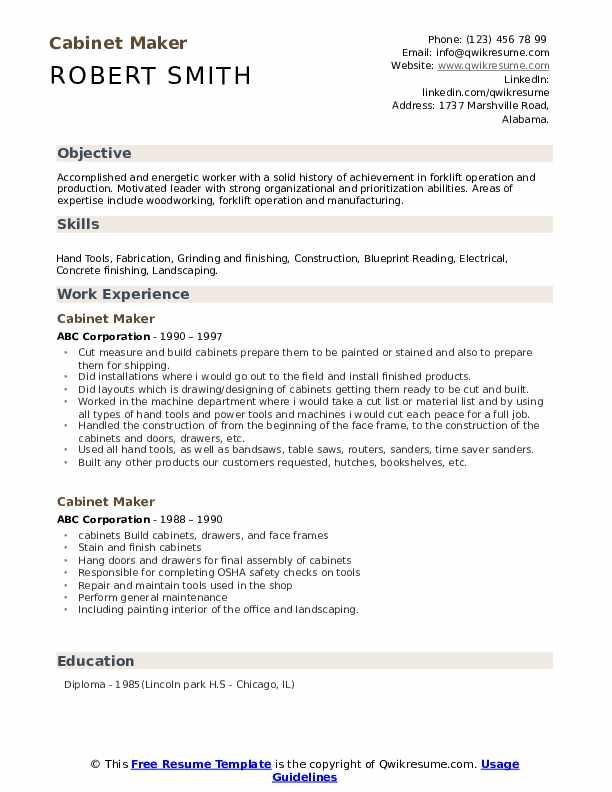 Cabinet Maker Resume Format
