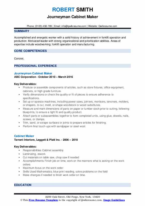 Journeyman Cabinet Maker Resume Format