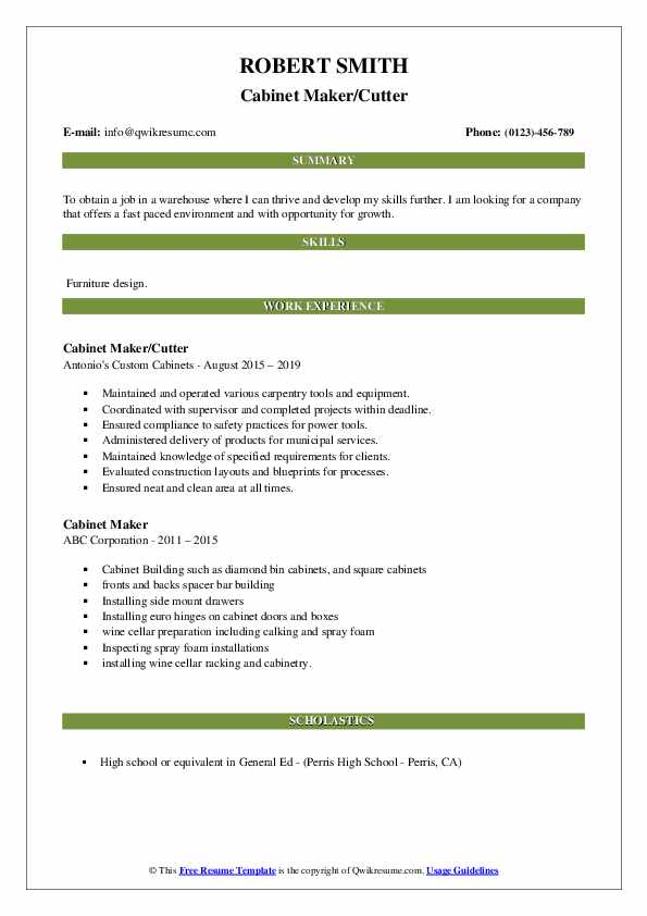 Cabinet Maker/Cutter Resume Example