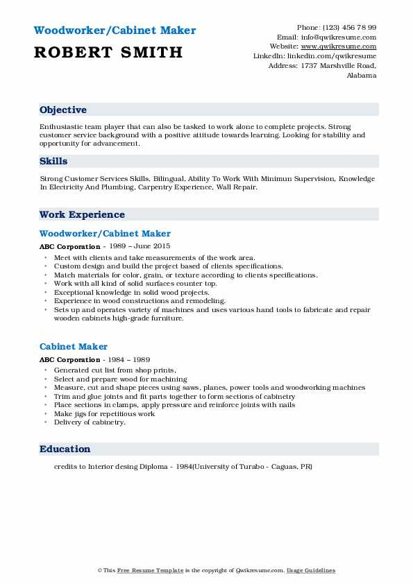 Woodworker/Cabinet Maker Resume Format