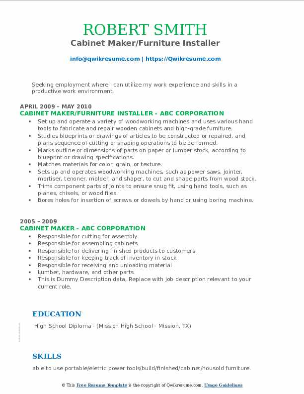 Cabinet Maker/Furniture Installer Resume Example