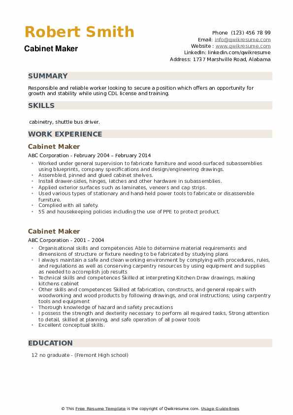 Cabinet Maker Resume example