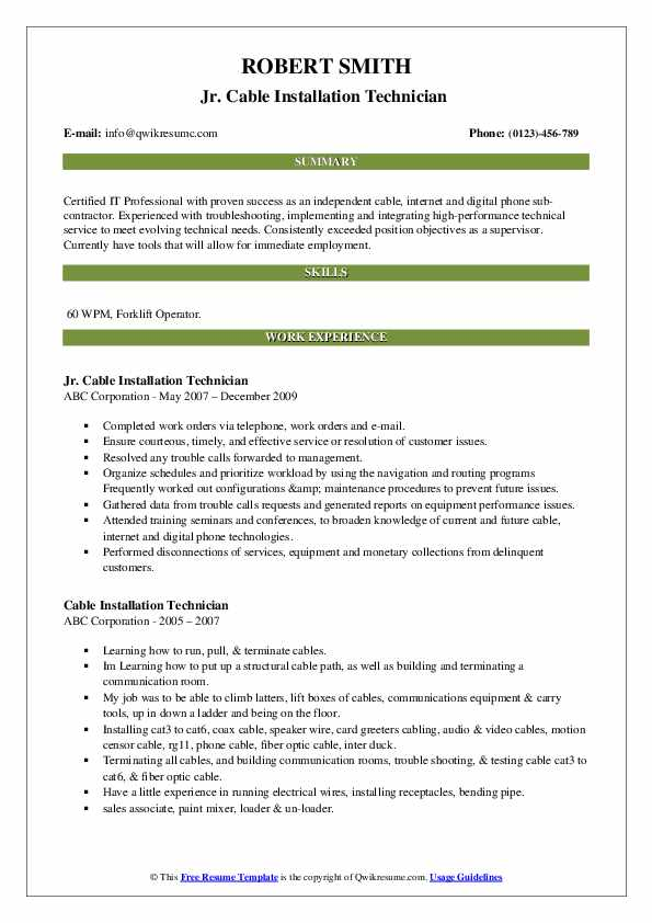 Jr. Cable Installation Technician  Resume Template