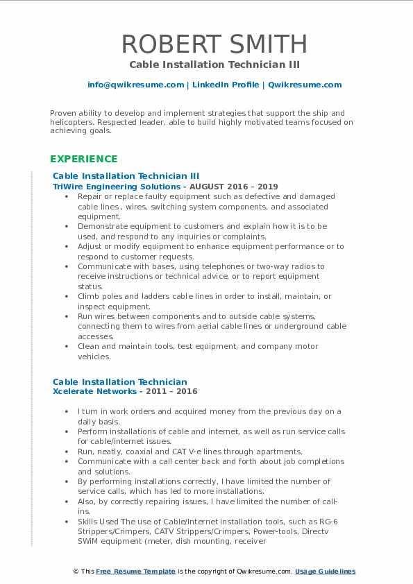 Cable Installation Technician III Resume Sample