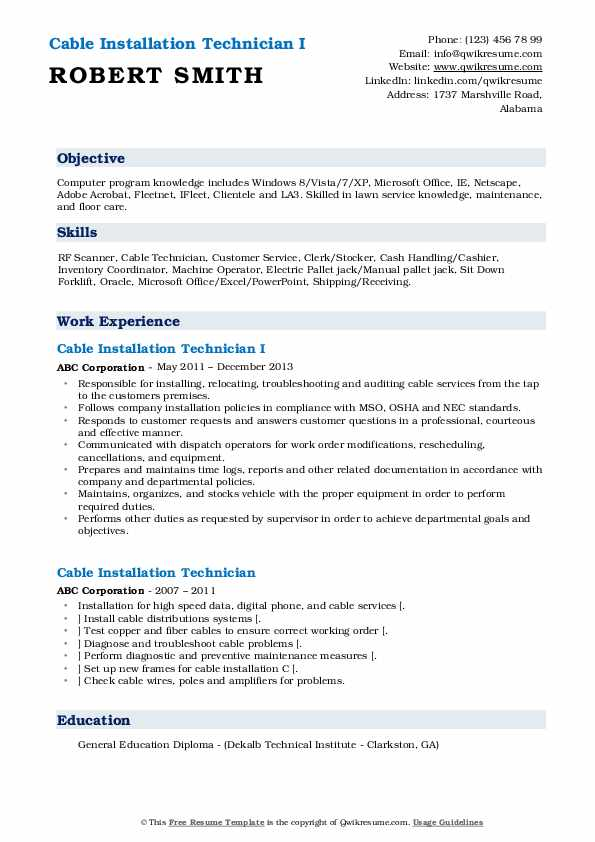 Cable Installation Technician I Resume Example