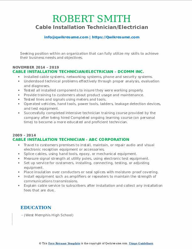 Cable Installation Technician/Electrician Resume Model
