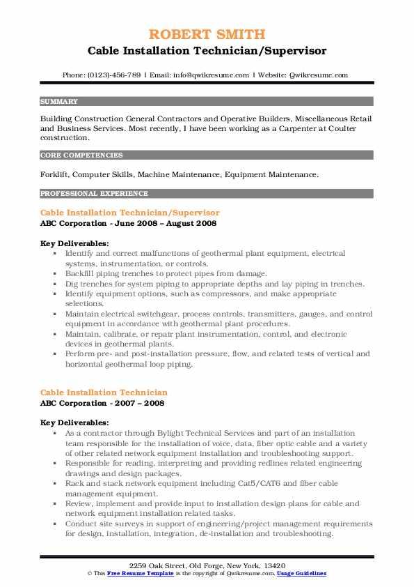Cable Installation Technician/Supervisor Resume Sample