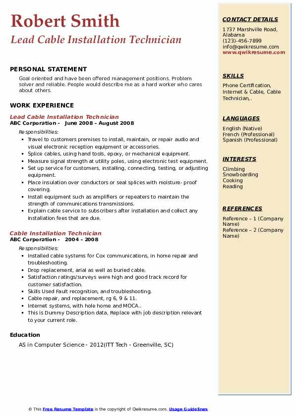 Lead Cable Installation Technician Resume Example