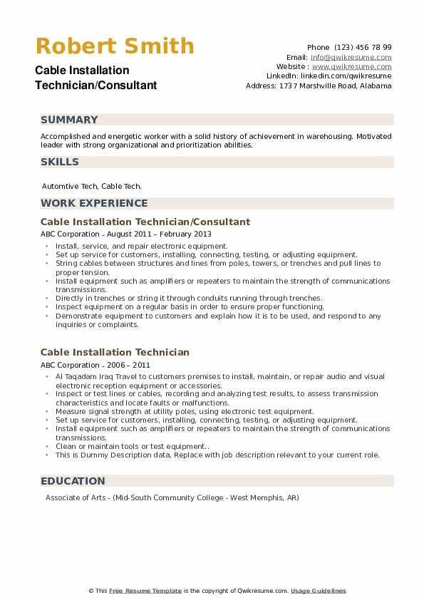 Cable Installation Technician/Consultant Resume Model