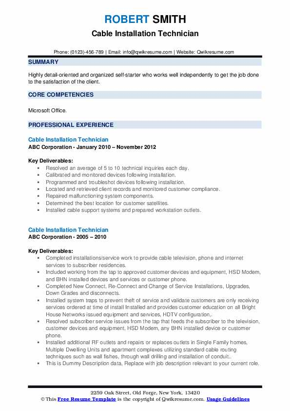 Cable Installation Technician Resume example