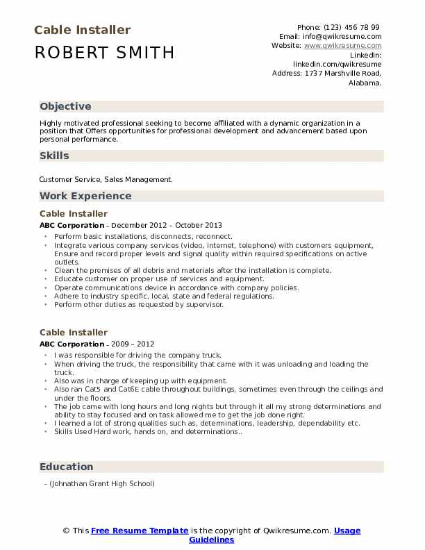 Cable Installer Resume Example
