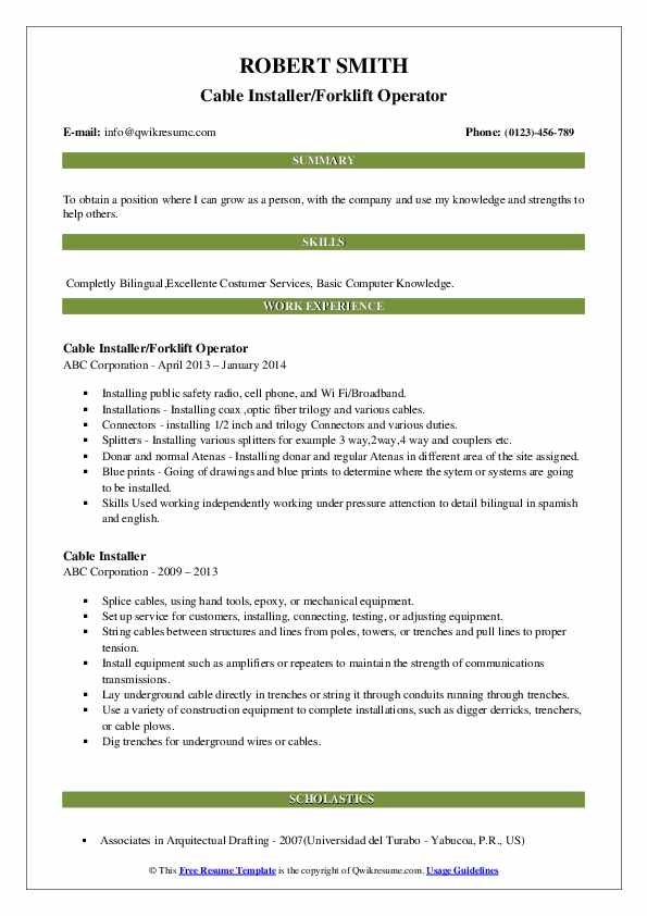 Cable Installer/Forklift Operator Resume Sample