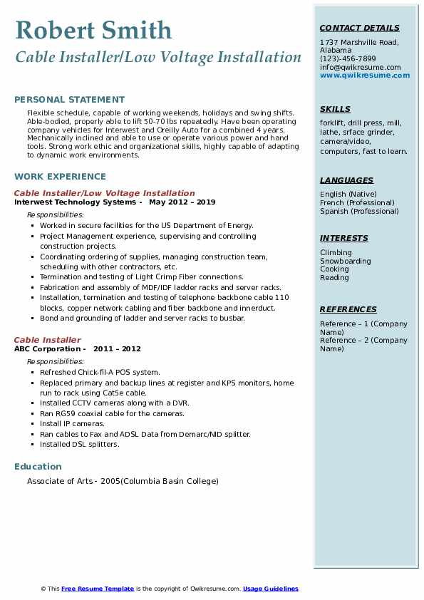 Cable Installer/Low Voltage Installation Resume Example