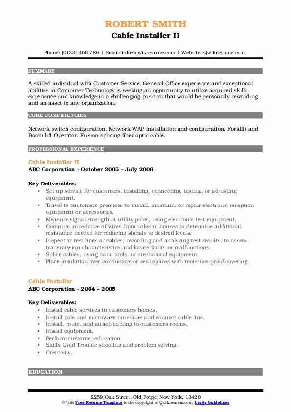 Cable Installer II Resume Example