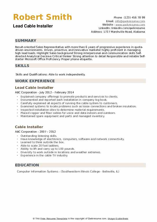 Lead Cable Installer Resume Example