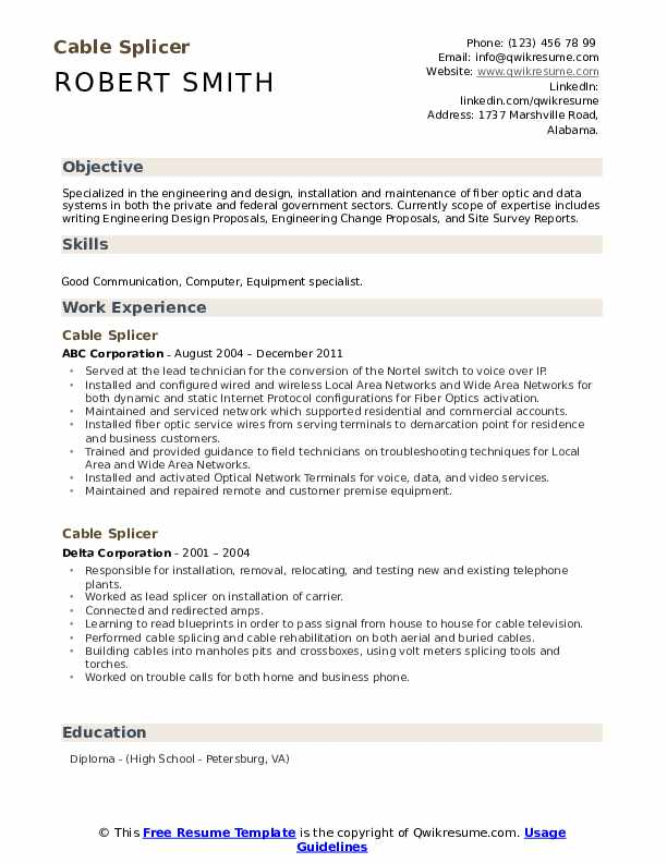 Cable Splicer Resume Samples Qwikresume