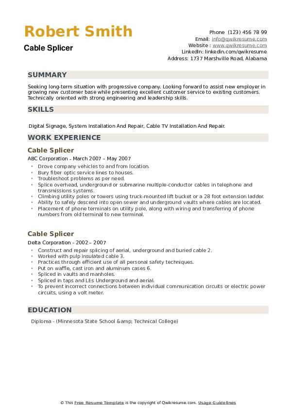 Cable Splicer Resume example