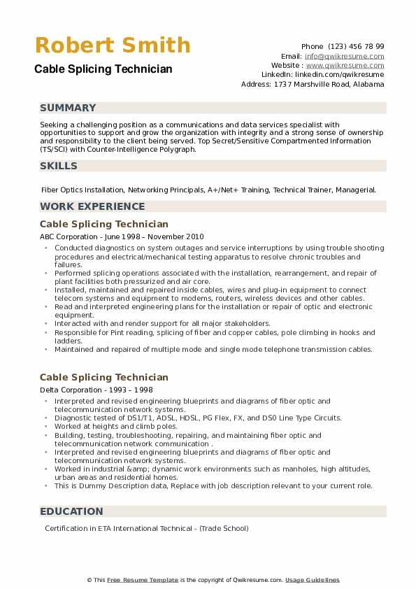 Cable Splicing Technician Resume example