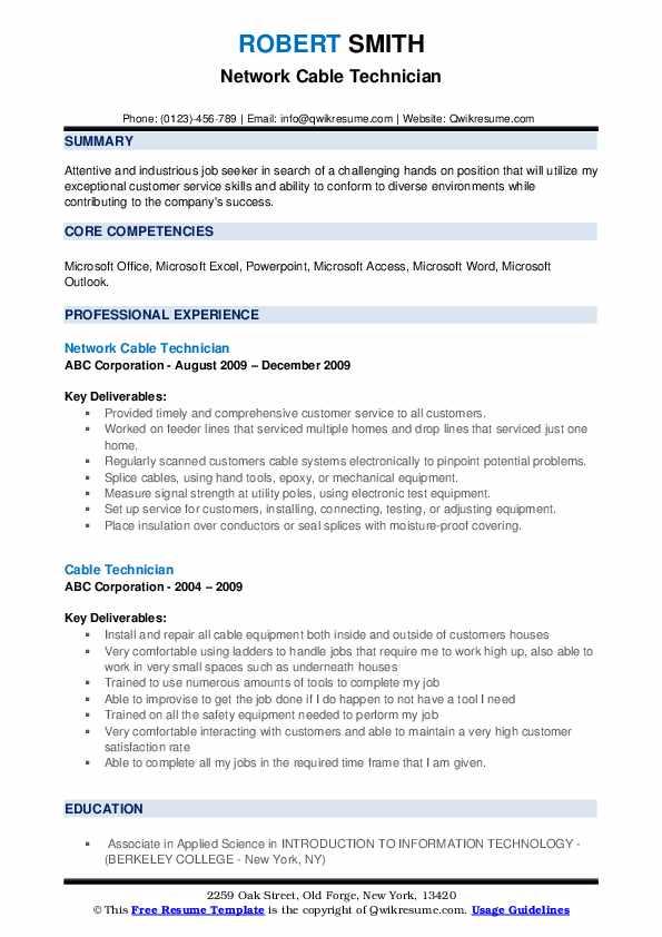 Network Cable Technician Resume Model