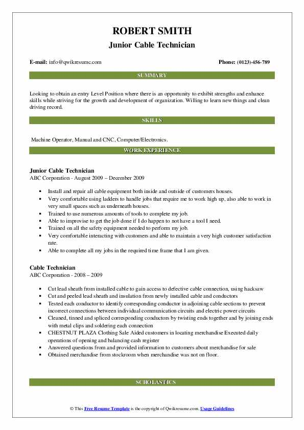 Junior Cable Technician Resume Model