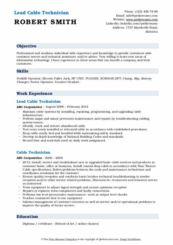 Cable Technician Resume Samples | QwikResume