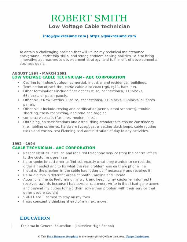 Low Voltage Cable technician Resume Model