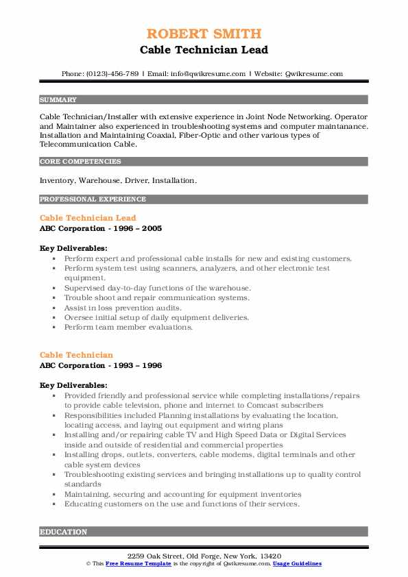 Cable Technician Lead Resume Template