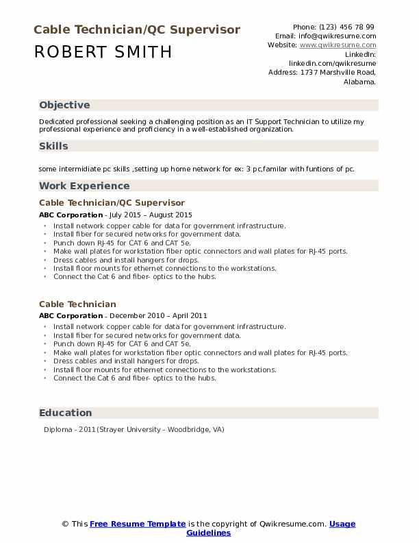 Cable Technician/QC Supervisor Resume Format
