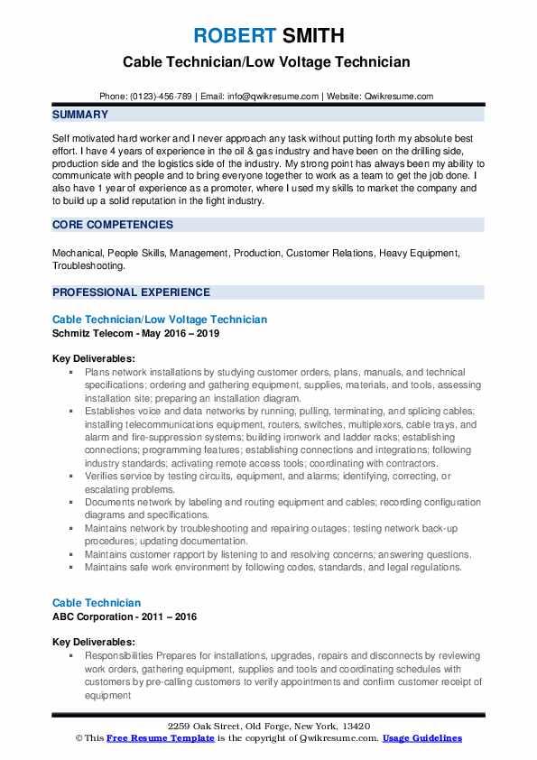 Cable Technician/Low Voltage Technician  Resume Format