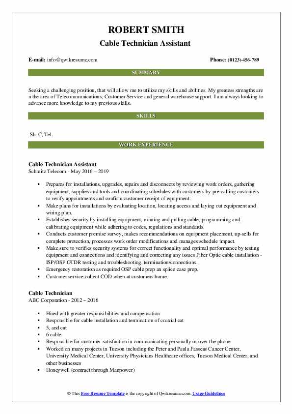 Cable Technician Assistant  Resume Format