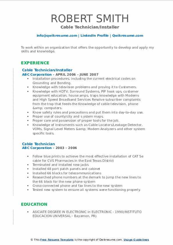 Cable Technician/Installer Resume Model