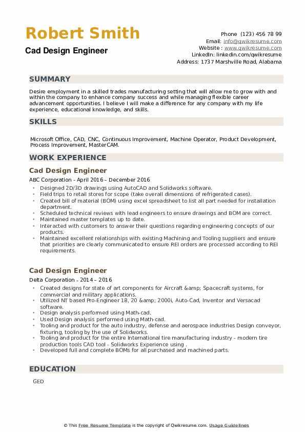 Cad Design Engineer Resume example