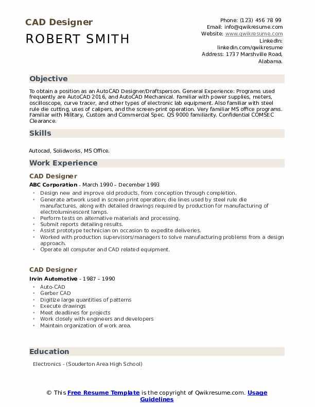 CAD Designer Resume Format