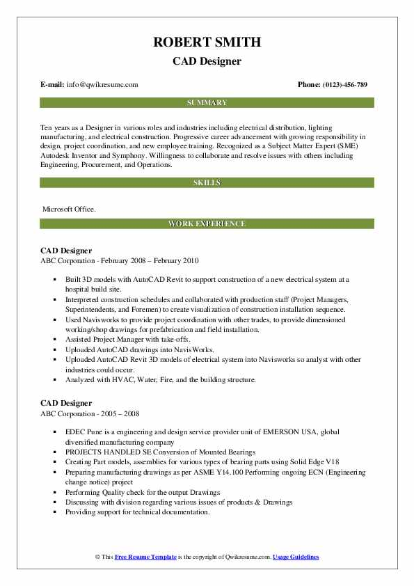 CAD Designer Resume Samples | QwikResume
