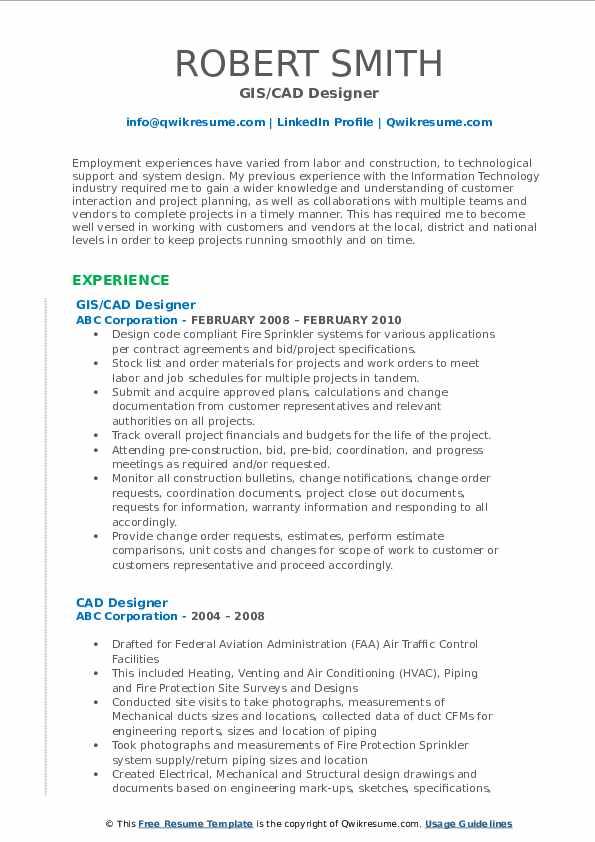 GIS/CAD Designer Resume Model